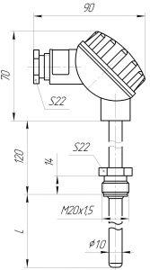 Конструктивное исполнение (рисунок) термопары ТХА/ТХК/ТНН-0193-01,-01А, ТХА-1393-01, -01А