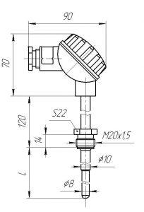 Конструктивное исполнение (рисунок) термопары ТХА/ТХК/ТНН-1392-02, -02А
