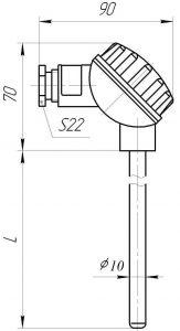 Конструктивное исполнение (рисунок) термопары ТХА/ТХК/ТНН-0193, -1393