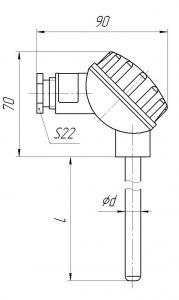 Конструктивное исполнение (рисунок) термопар ТХА/ТХК/ТЖК/ТНН-0193-К; -1393-К