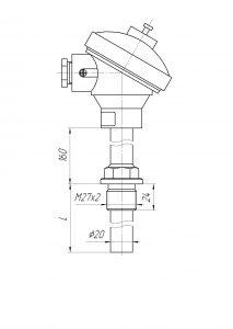 Конструктивное исполнение (рисунок) термопар ТХА/ТХК/ТЖК-1192К