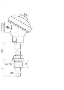 Конструктивное исполнение (рисунок) термопар ТХА/ТХК/ТЖК/ТНН-1192-К-М1