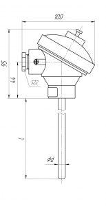 Конструктивное исполнение (рисунок) термопар ТХА/ТХК/ТЖК-1193-К; ТНН-0193-К; ТХА/ТХК/ТЖК/ТНН-1393-03К