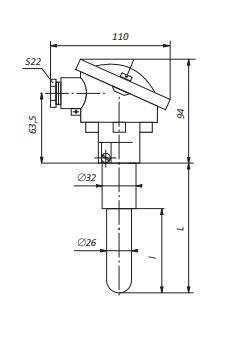 Конструктивное исполнение (рисунок) преобразователей ТПП/ТПР-1к-П-01,-2к-П-01