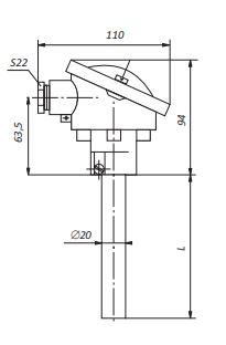 Конструктивное исполнение (рисунок) преобразователей ТПП/ТПР-1к-П,-2к-П