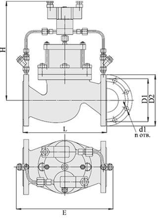 Клапаны запорно-регулирующие с электромагнитным приводом АГТ-71, Ду 40-200, с поршневым приводом