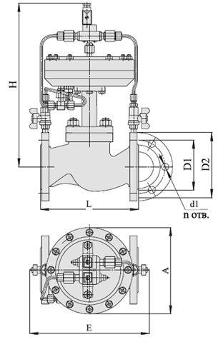 Клапаны запорно-регулирующие с электромагнитным приводом (АГТ-71), Ду 40-50, с мембранным приводом
