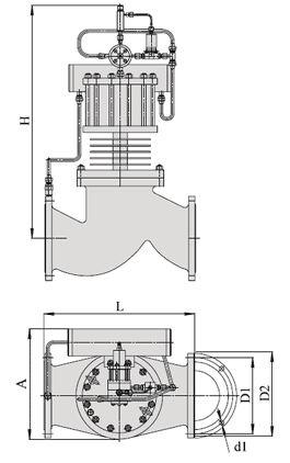 Клапаны запорные с электромагнитным приводом НО на пар (АЗЖ-70), Ду 150-200, с поршневым приводом