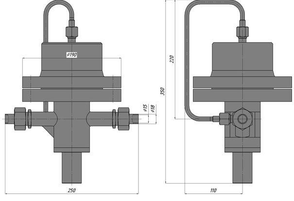Регуляторы перепада давления с ограничением расхода (АРТ-86), Ду 15, с сильфонным приводом