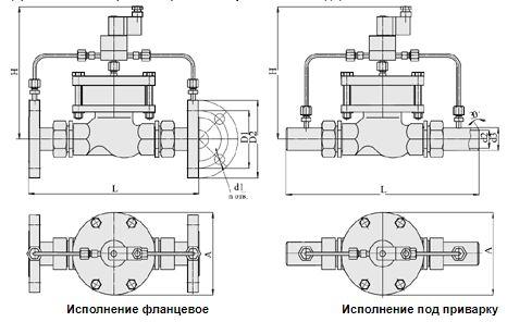 Клапаны запорные с электромагнитным приводом Н3 (АЗТ-70), Ду 15-32, с поршневым приводом