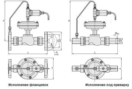 Клапаны запорные с электромагнитным приводом НО (АЗТ-70), Ду 15-32, с мембранным приводом