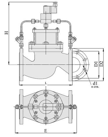 Клапаны запорные с электромагнитным приводом НЗ (АЗТ-70), Ду 40-200, с поршневым приводом