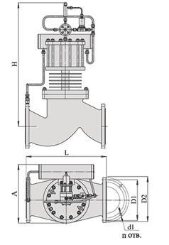 Клапаны запорные с электромагнитным приводом НЗ на пар, АЗЖ-70, Ду 150-200, с поршневым приводом
