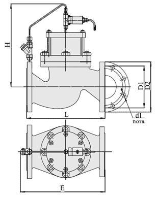 Клапаны запорные с электромагнитным управлением НО (АЗТ-70), Ду 40-200, с поршневым приводом