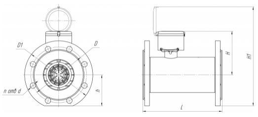 Схема ВВТ-50...200 счетчика воды с импульсным выходом