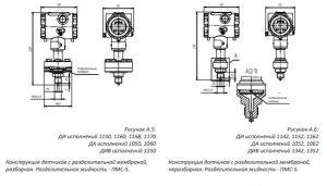 Габаритные размеры-1 преобразователей Агат-100-МТ (Агат-100М