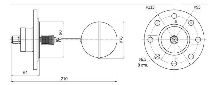 Габаритные размеры датчика-реле уровня ДРУ-1ПМ-СКБ