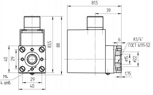 Габаритные размеры реле давления РД-4/25М, РД4/25M-10