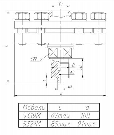 Габаритные размеры разделителей РМ-5319М,-5321М