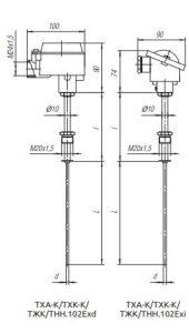 Конструктивное исполнение (рисунок) термопреобразователей ТХА-К/ТХК-К/ТЖК/ТНН-102-Exi/Exd