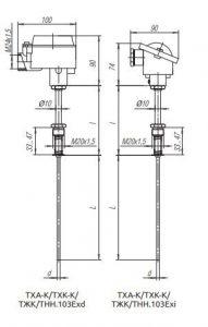 Конструктивное исполнение (рисунок) термопреобразователей ТХА-К/ТХК-К/ТЖК/ТНН-103-Exi/Exd
