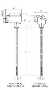 Конструктивное исполнение (рисунок) термопреобразователей ТХА-К/ТХК-К/ТЖК/ТНН-104-Exi/Exd