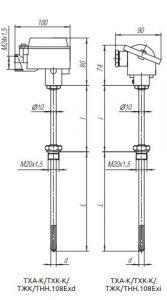 Конструктивное исполнение (рисунок) термопреобразователей ТХА-К/ТХК-К/ТЖК/ТНН-108-Exi/Exd