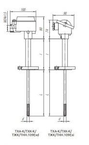 Конструктивное исполнение (рисунок) термопреобразователей ТХА-К/ТХК-К/ТЖК/ТНН-109-Exi/Exd