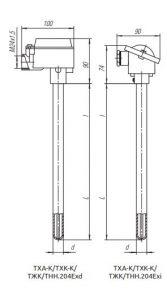 Конструктивное исполнение (рисунок) термопреобразователей ТХА-К/ТХК-К/ТЖК/ТНН-204-Exi/Exd
