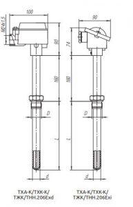 Конструктивное исполнение (рисунок) термопреобразователей ТХА-К/ТХК-К/ТЖК/ТНН-206-Exi/Exd