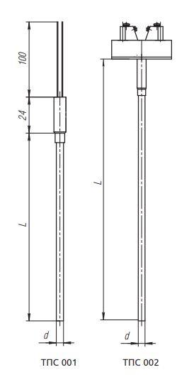 Рисунок термопреобразователей ТПС-001, ТПС-002