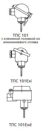 Конструктивное исполнение (рисунок) термопреобразователей ТПС-101-Exi/Exd