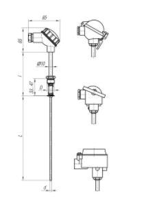 Конструктивные исполнения (рисунки) термопреобразователя ТПС-103, ТПС103-Exd/Exi