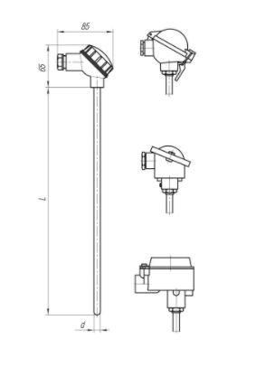 Конструктивные исполнения термопреобразователей ТПС-104, ТПС104-Exd/Exi