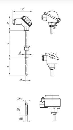 Конструктивные исполнения (рисунки) термопреобразователей ТПС-106, ТПС106-Exi/Exd