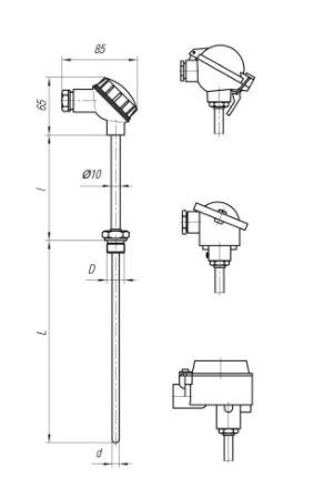 Конструктивные исполнения (рисунки) термопреобразователей ТПС-108, ТПС108-Exi/Exd
