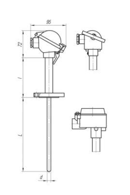 Конструктивные исполнения (рисунки) термопреобразователей ТПС-109, ТПС109-Exi/Exd
