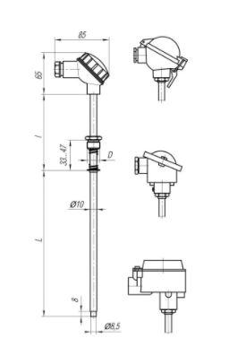 Конструктивные исполнения (рисунки) термопреобразователей ТПС-100, ТПС110-Exd/Exi