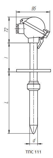 Вариант конструктивного исполнения (рисунка) термопреобразователя ТПС-111
