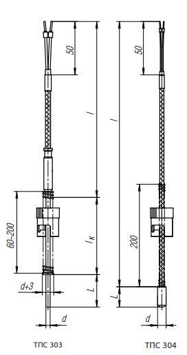 Конструктивные исполнения (рисунки) термопреобразователей ТПС-303, ТПС-304(Exi)