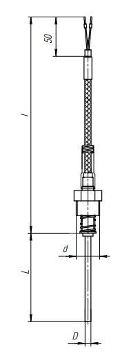 Конструктивное исполнение (рисунок) термопреобразователя ТПС-306(Exi)