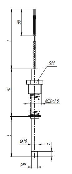 Конструктивное исполнение (рисунок) термопреобразователей ТПС-309(Exi)