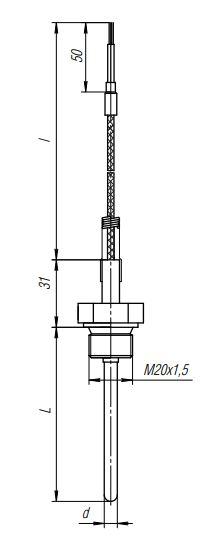 Конструктивное исполнение (рисунок) термопреобразователя ТПС-311(Exi)