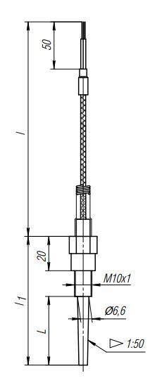 Конструктивное исполнение (рисунок) термопреобразователей ТПС-312(Exi)