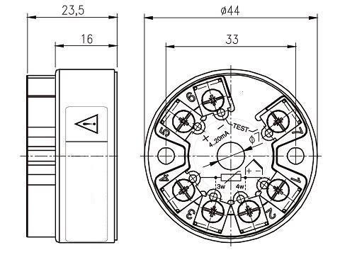 Габариты. Исполнение для установки в головку VME-103/104-3, VME-Exi-105-3