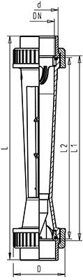 Габаритные размеры ротаметров GF-335 без магнита