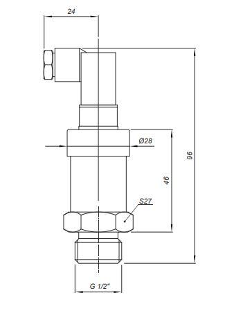 Габаритные размеры датчиков давления Корунд-ДИ-001MH