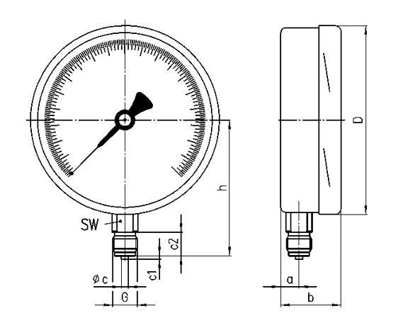Габаритные размеры манометра МО-160