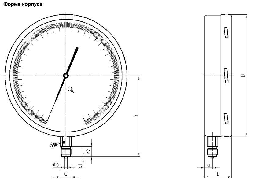 Габаритные размеры манометра МО-250