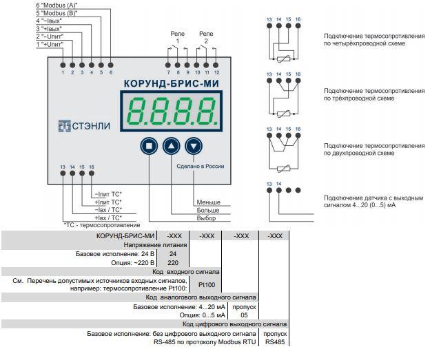 Схема блока индикацииКорунд-БРИС-МИ-24/220